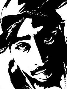 tupac black and white stencil silhouette pinterest