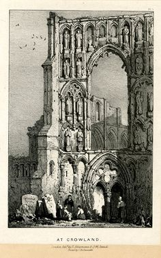 Plate 4. Ruins of a church, the facade covered with numerous sculpture of saints standing in niches under pointed arches; a group of figures seated and standing in the foreground at tombstones at left, and a woman standing at right in front of the entrance under two pointed arches, with carved quatrefoil decoration above. Lithograph on chine collé