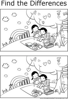 If you look carefully, you can find differences between the two pictures of a boy and girl having a picnic in this printable coloring page for kids.