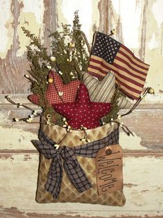 Americana Homespun, Homespun Primitives, Handmade, Wood Ruffles and Lace Primitives Americana Crafts, Patriotic Crafts, Country Crafts, July Crafts, Primitive Crafts, Summer Crafts, Holiday Crafts, Primitive Stitchery, Country Wreaths