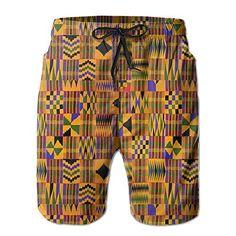 587f7814fa95 SALE PRICE -  7.29 - QR FUNK Mens African Art Lattice Quick-Dry Beach Shorts