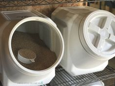 Choose the best livestock feed storage containers to keep your expensive feed fresh and free from mice. My best list of options to store animal feed. Chicken Garden, Chicken Feed, Chicken Coops, Cattle Farming, Livestock, Feeding Goats, Metal Chicken, Urban Chickens, Horse Feed