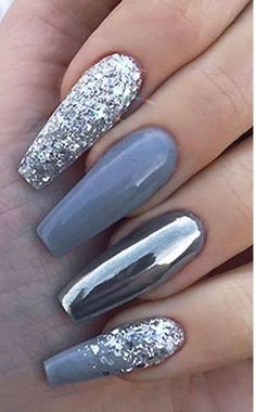 Mirror and glitter silver nail polish art.❤ – … – Mirror and glitter silver nail polish art.❤ – Mirror and glitter silver nail polish art.❤ – … – Mirror and glitter silver nail polish art. Silver Nail Polish, Silver Glitter Nails, Gray Nails, Nail Polish Art, Glitter Nail Art, Glitter Mirror, Blue And Silver Nails, Mirror Nail Polish, Mirror Nails