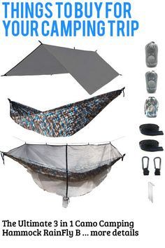 (This is an affiliate pin) The Ultimate 3 in 1 Camo Camping Hammock RainFly Bundle with Fully Detachable Mosquito Net by Sun Society Camping Furniture, Camping Hammock, Mosquito Net, Things To Buy, Camo, Sun, Outdoor, Camouflage, Outdoors