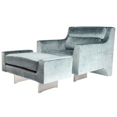 Vladimir Kagan Omnibus Lounge Chair and Ottoman | From a unique collection of antique and modern lounge chairs at http://www.1stdibs.com/furniture/seating/lounge-chairs/