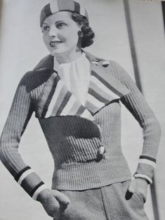 INSTANT DOWNLOAD PDF Knitting Pattern 1930s Fun Hand Knit Ski Set Jacket Socks Mitts and Cap Pattern Norma Shearer Style