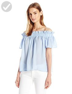 Lucca Couture Women's Crepe Off Shoulder Paperbag Top, Blue, Small - All about women (*Amazon Partner-Link)