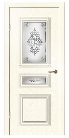 Дверь пвх СИМФОНИЯ 900х2000мм ясень белый вензель стекло - Стройландия