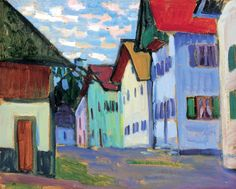 "bofransson: Alley in Murnau Gabrielle Münter - Gabriele Münter was a German expressionist painter who was at the forefront of the Munich avant-garde in the early century and one of the founders of the ""Der Blaue Reiter. Franz Marc, Wassily Kandinsky, Kunst Online, Online Art, Landscape Art, Landscape Paintings, Illustrations, Illustration Art, Cavalier Bleu"