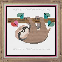 Sloth - Cross Stitch Pattern - Downloadable PDF by SpaceNonasStitchery on Etsy https://www.etsy.com/listing/219949308/sloth-cross-stitch-pattern-downloadable