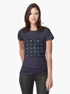 Women's fitted t-shirt with real snowflake photos. This is square collage in dark blue color, containing 25 interesting snowflake photos, which i've captured during winter 2012-2013. All these closeup pictures of snowflakes captured on black woolen fabric in natural light from cloudy sky. • Also buy this artwork on apparel, stickers, phone cases, and more.