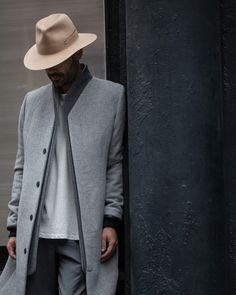 length // topcoat, neutrals, grey, hat, menswear, mens style