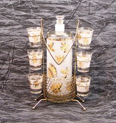Vintage Liquor Decanter Set Libbey Starlyte Frosted