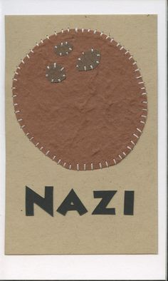 nazi (coconut)... swahili flashcards 4x6 inches hand-cut and sewn paper collage