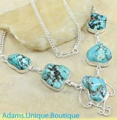Handmade Genuine Blue Turquoise 925 Sterling Silver Necklace
