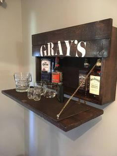 Rustic Hanging Liquor Cabinet Murphy Bar Wall Bar