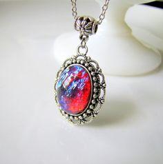 SALE Dragon's Breath Opal Necklace Fire Opal by TwigsAndLace