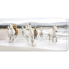Add some artwork to your home by putting up this stretched canvas art. It features a shot of several beautiful horses galloping along a beach. The painting has a convenient hook opening on the back that allows you to hang it anywhere.