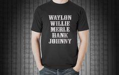 Waylon Jennings Merle Haggard Willie Nelson Hank by AndysTees