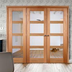 Easi-Frame Oak Door Set, GOSHA4L-COEOP17L, 2005mm Height, 2270mm Wide. #shakerdoor #internaldoor #glazedshakerdoor