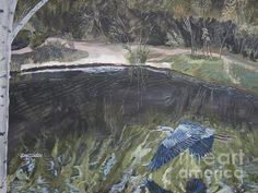 Title  Great Blue Heron In Flight   Artist  Ian Donley   Medium  Painting - Acrylic On Canvas
