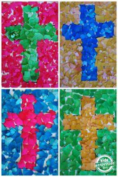 mosaic cross craft for kids cross mosaic craft kids ; mosaic cross craft for kids ; mosaic cross craft for kids tissue paper ; mosaic cross craft for kids sunday school Paper Mosaic, Mosaic Crafts, Mosaic Art, Mosaics, Bible School Crafts, Bible Crafts, Preschool Bible, Preschool Crafts, Easter Activities