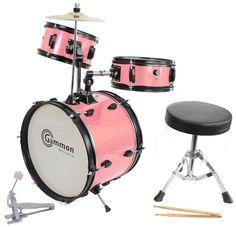 drumset - Junior 3 Piece Pink Drum Set with Cymbal Sticks