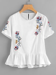 SheIn offers Embroidery Frill Hem Blouse & more to fit your fashionable needs. White Peplum Tops, White Short Sleeve Blouse, White Blouses, Blouse Styles, Blouse Designs, Clothing Sites, Inspiration Mode, Affordable Clothes, Blouses For Women
