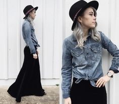 Such a cute look! I'm thinking about doing that with my same denim overthrow and a black skater skirt and some black wedges.