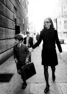 Jackie Kennedy taking son John to school in New York City, 1968.