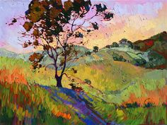 Rolling hills of Paso Robles landscape oil painting, by Erin Hanson