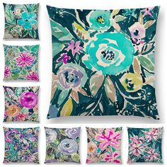 Hot Sale Watercolor Flowers Hibiscus Flourish Coral Floral Gardens Delight Prints  Colorful Cushion Cover Sofa Throw Pillow Case-in Cushion Cover from Home & Garden on Aliexpress.com   Alibaba Group Sofa Throw Pillows, Throw Pillow Cases, Teal Coral, Colourful Cushions, Textiles, Floral Pillows, Flourish, Watercolor Flowers, Duvet