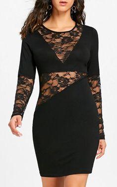 Lace Insert Sheer Long Sleeve Bodycon Dress – Black #bodycondresslongsleeve