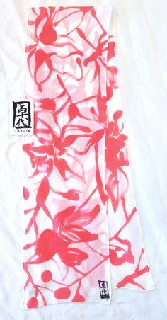 Silk Scarf Handpainted Small Silk Scarf por SilkScarvesTakuyo