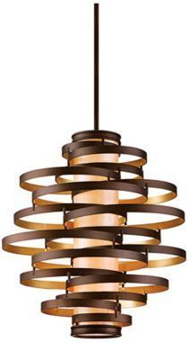 Vertigo Bronze and Gold Leaf 30-Inch-W Foyer Pendant Light by Corbett