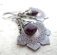 Etched Lotus Earrings by Lost Sparrow Jewelry