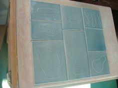 Tile Backsplash of Pale Sky Blue - 8 Tiles. $75.00, via Etsy.