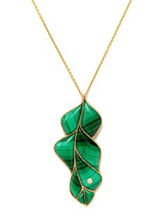 Wisteria Malachite Pendant Necklace by Anna Ruth Henriques at Gilt...gorgeous mosaic quality to the piece.