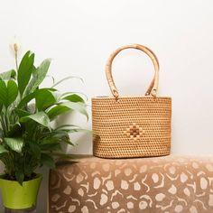 Women rattan bag/ Hand woven tote bag/ beach bag/ Gift for | Etsy