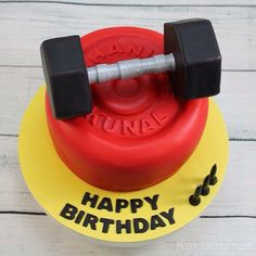 Pin for Later: Fitness-Inspired Cakes, Because Fit Fanatics Love Cake, Too Sports Birthday Cakes, Birthday Cake For Him, Hubby Birthday, Themed Birthday Cakes, Themed Cakes, Crossfit Cake, Fitness Cake, Gym Cake, Crisco Recipes