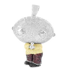 White Gold Finish Cartoon Stewie Holding Mic Multi Tone Lab Diamond Pe   Masterofbling