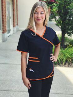Denver Broncos Mock Wrap Scrub Top with Two Front Pockets Cute Nursing Scrubs, Cute Scrubs, Scrubs Outfit, Scrubs Uniform, Dental Scrubs, Medical Scrubs, Denim Skater Dress, Beauty Tunics, Denver Broncos Womens