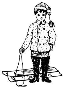 Boy With New Sled From Santa ~ Free Vintage Clip Art