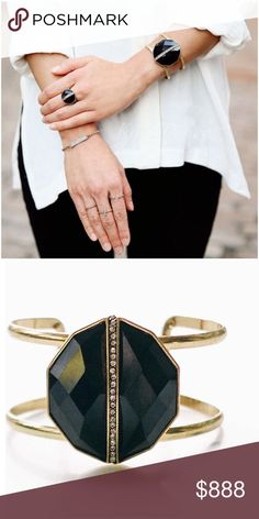 Jewelry | Black & brass bracelet cuff This gorgeous onyx bracelet is certainly a statement piece. Brand-new, never worn, this gold toned brass frame supports the large crystal cut onyx stone. This stone highlights crystal stones fitting perfectly in the center // large black stone matches everything! (Onyx=black color, no precious stones) 2 bands design looks like 2 bracelets in one! Matching black ring not included, but small gold ring set is also available for sale! Just ask to be tagged…