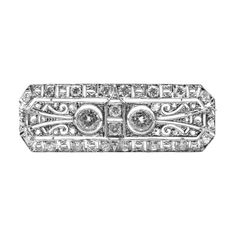 Art Deco Diamond Platinum Pin Brooch   From a unique collection of vintage brooches at http://www.1stdibs.com/jewelry/brooches/brooches/