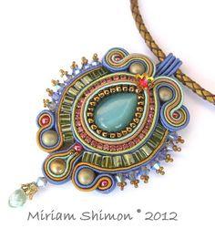 Blue and Green Soutache pendant by Cielo Design