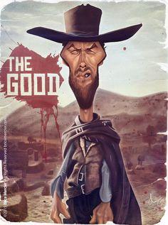 Caricature de Clint Eastwood par Brice Mercier / Bubble Com.