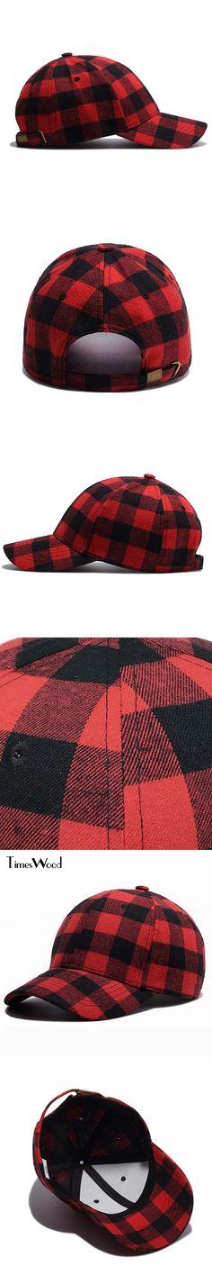 [TIMESWOOD] Brand 2017 New Baseball Caps Mens Womens Fashion Red Plaid Strapback Hats Adjust Unisex Cotton Cap Bone Aba Curva