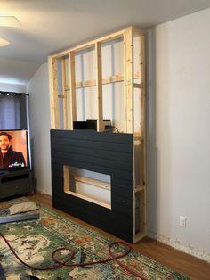 Home theaters com lareira DIY Electric Fireplace Build DIY Electric Fireplace Build Build A Fireplace, Basement Fireplace, Fireplace Built Ins, Home Fireplace, Fireplace Remodel, Living Room With Fireplace, Fireplace Surrounds, Fireplace Design, Fireplace Ideas