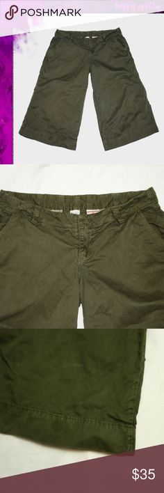 992fef2081 Lucky Brand Olive Green Gauchos Cropped pants with a wide leg in a dark  olive green